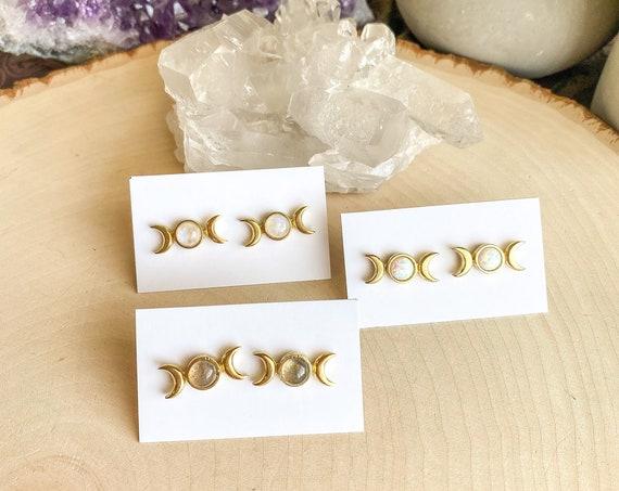 Moon Phase Gemstone Stud Earrings