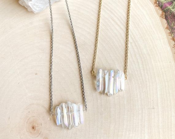 Aura Quartz Crystal Cluster Necklace