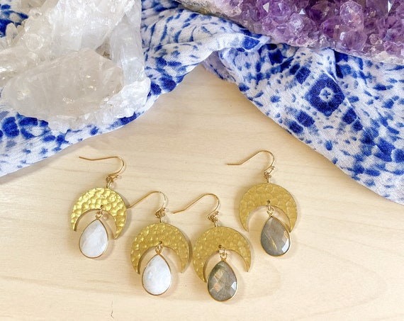 Boho Crescent Gemstone Earrings