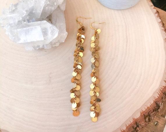 Brass Sequin Earrings