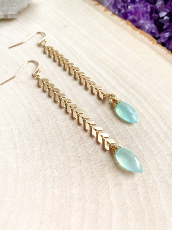 Chevron Aqua Chalcedony Earrings