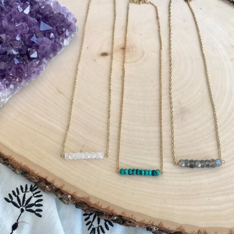 Gemstone Bar Necklace Turquoise Moonstone Labradorite / image 0