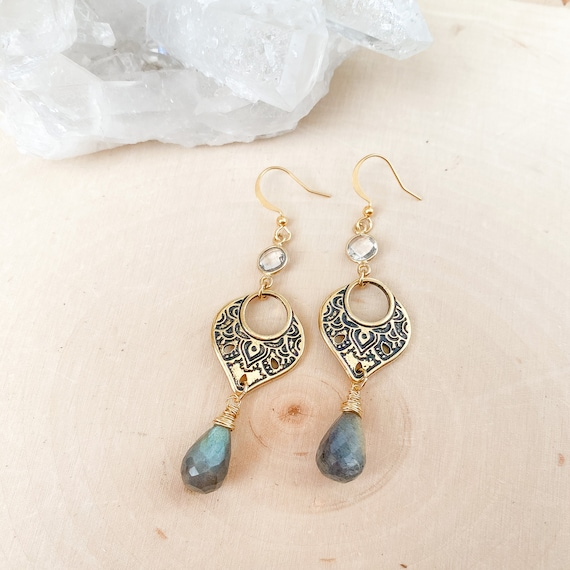 Labradorite Boho Drop Earrings