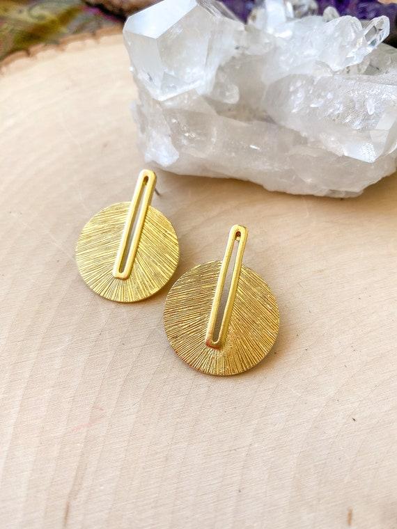 Brass Boho Statement Stud Earrings