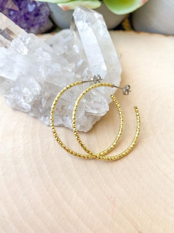 Textured Brass Hoop Earrings | Boho Hoop Earrings | Simple Hoop Earrings