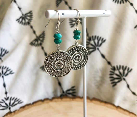 Antique Silver Disk Earrings with Turquoise