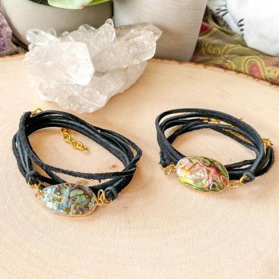 Abalone Leather Wrap Bracelet