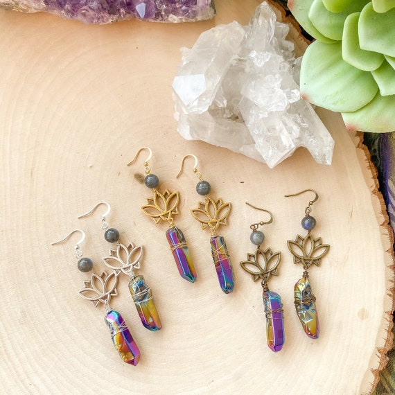 Lotus Rainbow Quartz Crystal Earrings