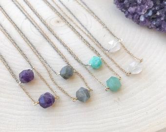 Simple Gemstone Necklace | Amethyst | Labradorite | Rose Quartz | Amazonite