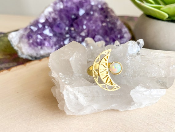 Crescent Moon Opal Statement Ring