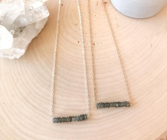 Labradorite Bar Necklace