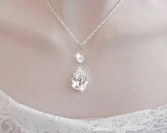Swarovski crystal wedding necklace Brides crystal necklace Teardrop Wedding necklace Sterling silver chain Bridesmaids necklace SOPHIA