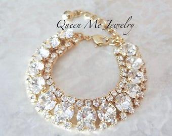 Gold Swarovski crystal statement bracelet Halo crystal Brides crystal bracelet Crystal wedding bridal bracelet Bridal Wedding Jewelry SOPHIA