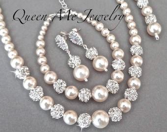 3fda6f451f34c8 Pearl jewelry set, Swarovski 3 piece Pearl Backdrop Necklace Bracelet  Earrings Blush Wedding Bride gift Bridal jewelry TOP SELLER DESTINY