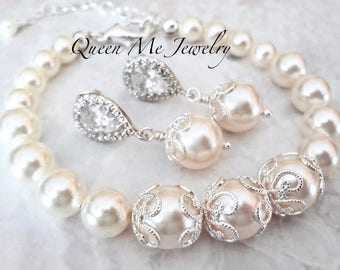 Swarovski Pearl jewelry set Pearl Bracelet and earring set Brides pearl set Bridesmaids jewelry set Bridesmaids Mother of the bride Jewelry