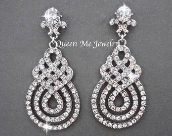 Crystal Chandelier wedding earrings Swirl design Infinity earrings Bridesmaids earrings Pageant Prom earrings Wedding earrings  Jewelry