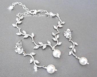 Pearl jewelry set Wedding jewelry set Leaves and branches jewelry set Swarovski pearl jewelry set Spring Summer Brides jewelry set