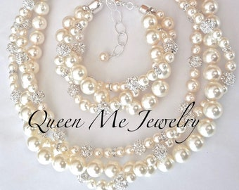 Twisted and Layered Swarovski pearl and crystal necklace and bracelet set For a bride Pearl Bridal Wedding Jewelry set Bridal Jewelry set