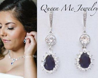 Blue Sapphire earrings, Blue sapphire Cubic Zirconia earrings, Something Blue, Brides earrings, September Birthstone, Elegant jewelry, KATE