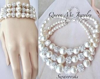 Pearl Cuff Bracelet, Pearl bracelet, 3 strand~ Wedding bracelet ~ Swarovski pearls and crystals ~Brides pearl statement bracelet, ~DESTINY