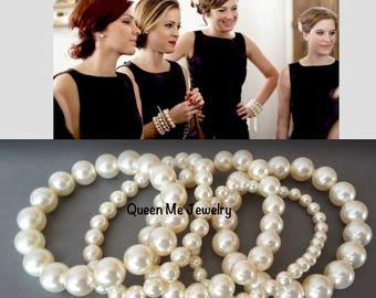 Pearl statement bracelet, Pearl cuff bracelet, Swarovski pearl bracelet, Chunky pearl bracelet set, 5 strand pearl bracelet, Brides bracelet