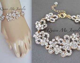 Yellow Gold crystal bracelet Brides wedding bracelet Gold wedding bracelet Crystal statement bracelet Bridal Wedding jewelry MEG