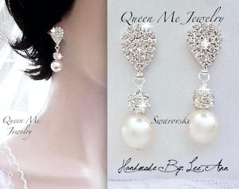 Chunky Pearl wedding earrings Brides Bridesmaids Mother of the bride pearl drop earrings Swarovski Pearl earrings Bridal Jewelry LOLITA