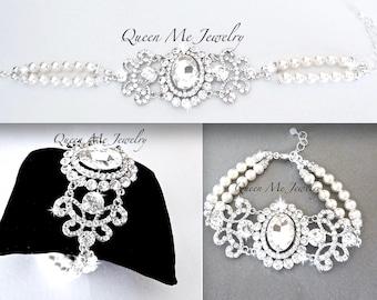 Swarovski Pearl statement bracelet Brides pearl bracelet Pearl wedding bracelet Vintage style pearl bracelet Wedding Bridal Jewelry ANGELINA