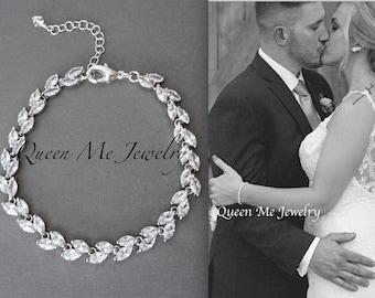 Cubic Zirconia bracelet Brides bracelet Wedding bracelet Bridal bracelet Leaf design Marquise Cut bracelet Tennis bracelet Lux LILLY