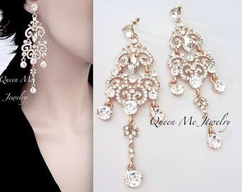 """Gold chandelier earrings - 4"""" Long - Crystal rhinestone statement earrings - Brides earrings - Pageant - Prom - Wedding earrings"""