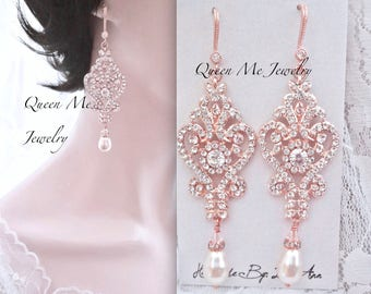 Long Rose gold pearl chandelier wedding earrings Rose gold crystal earrings Rose gold wedding earrings for a bride Blush wedding Jewelry MIA