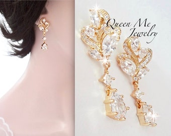 Yellow Gold bridal earrings Marquise cut Brides earrings Gold wedding earrings Jewelry for a bride Cubic zirconia earrings LILLY