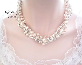 Brides twisted pearl statement necklace Swarovski pearl and crystal twisted layered pearl necklace Bridal wedding Layered necklace BLING