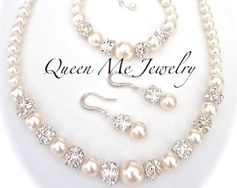 Pearl jewelry set 3 piece Pearl necklace earrings and bracelet Swarovski Wedding Bridal jewelry BEST SELLER For a Bride Bridesmaids DESTINY