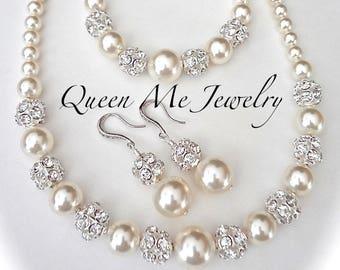 Chunky pearl jewelry set Swarovski 3 piece Brides jewelry set Necklace Bracelet and Earrings Wedding Bridal Jewelry set LOLITA