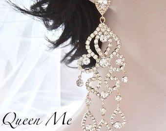"""Yellow Gold chandelier earrings 4 1/2"""" Long Crystal statement earrings Brides earrings Pageant Prom earrings Gold wedding earrings Jewelry"""