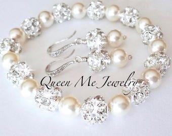 Pearl bracelet and earring set, Swarovski pearl jewelry set, Sterling silver posts ~ Bridal jewelry set ~ Wedding jewelry set, SHARP
