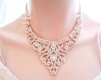 Cheap Inexpensive Statement Necklace for Bridesmaid Wedding Dress Work Bib Necklace Bead Jewelry with Silver or Gold Oval Link Chain
