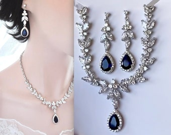 bridesmaid jewelry set wedding jewelry set Avery Blue Pear Jewelry Set Crystal Wedding Necklace Set Sapphire Blue Bridal Jewelry Set