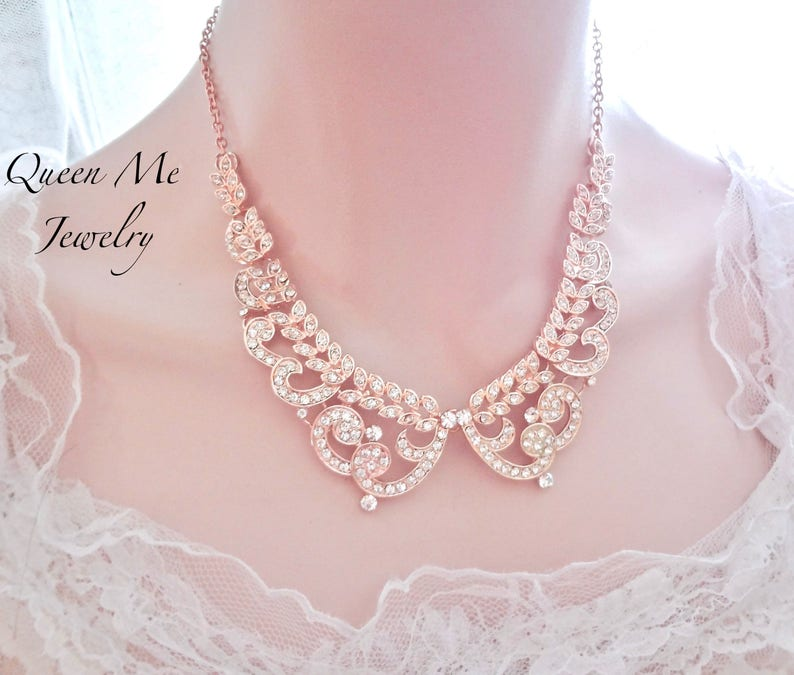 Rose gold crystal necklace Crystal collar Gift for her a Bride Bridesmaids Mother of Bride Groom Wife Blush Bridal Wedding Jewelry  MIA