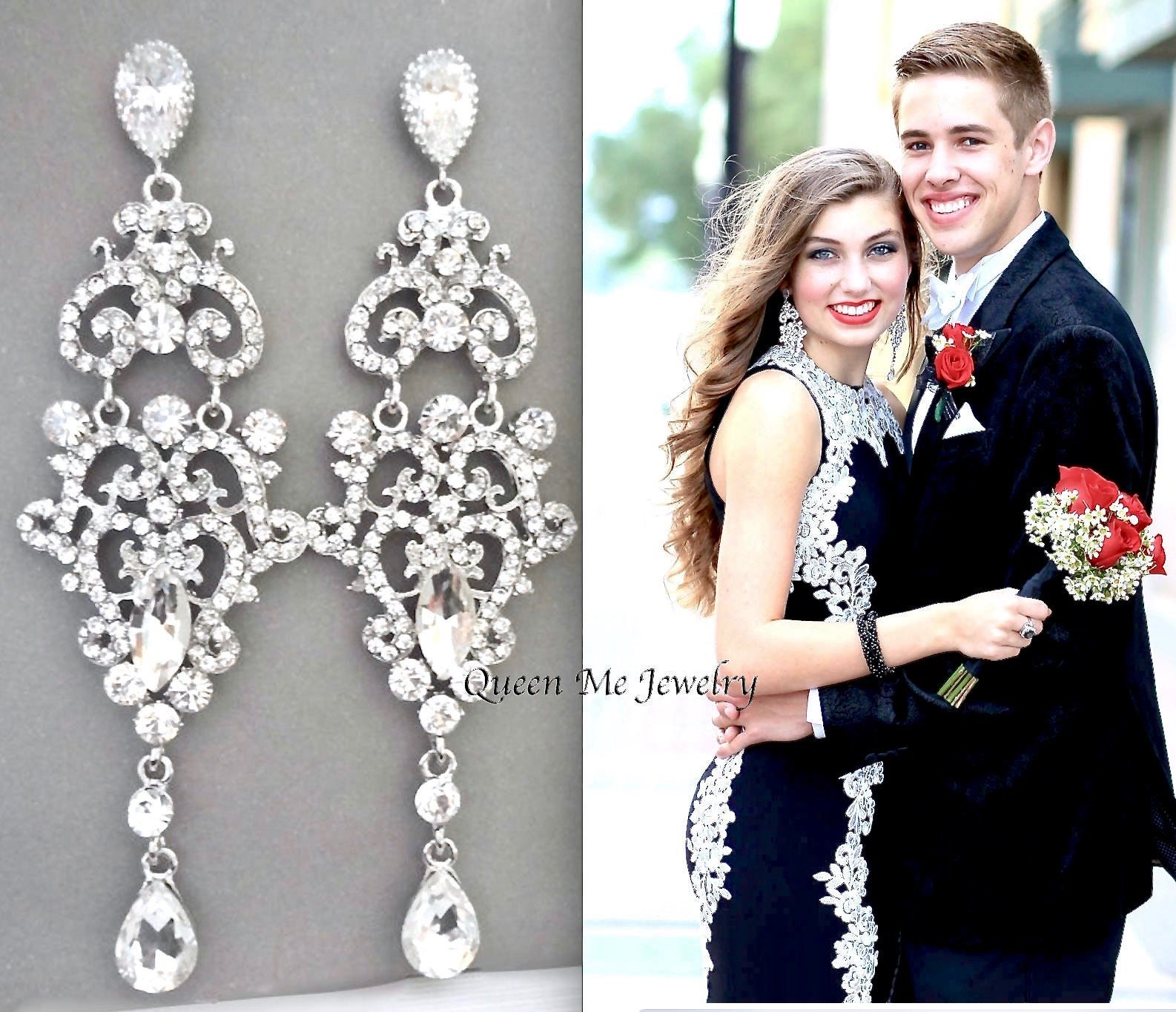 Bridal Jewelry Pageant Prom Earrings Sterling posts Statement Wedding Earrings for a Bride LEXI Long Crystal Chandelier Earrings
