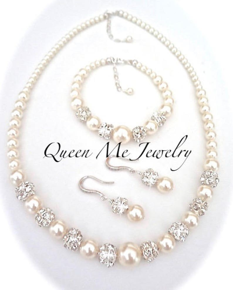 7ffc29aac41ac Pearl jewelry set, 3 piece set Pearl Necklace Earrings Bracelet Swarovski  pearls Wedding Bridal jewelry Gift For a Bride Bridesmaids DESTINY
