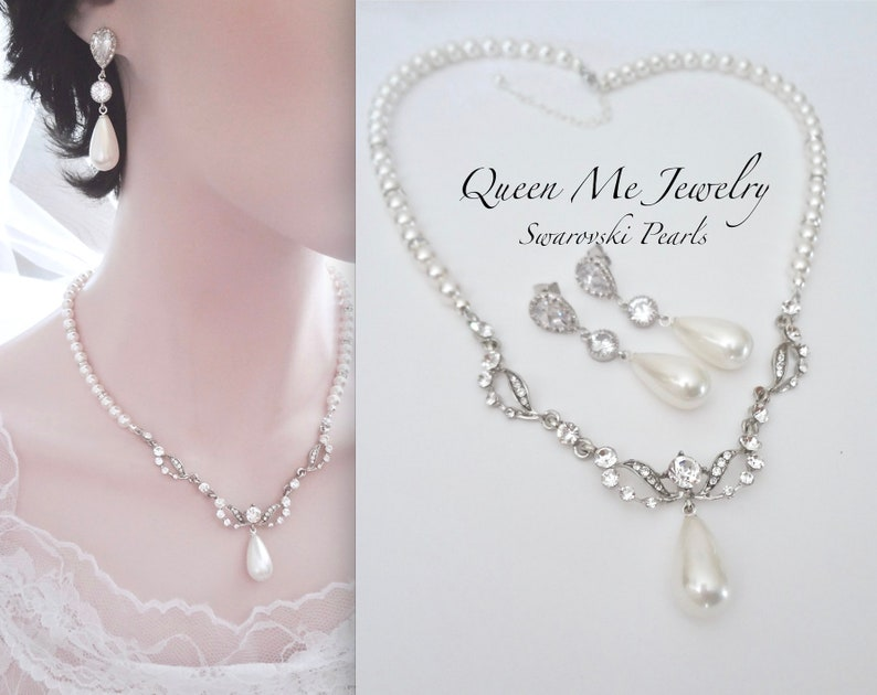 188c64bcda1a8 Pearl jewelry set, Pearl drop Bib Necklace and Earring Gift for her a Bride  Mother Swarovski Pearls Crystal Bridal Wedding JewelryEMI
