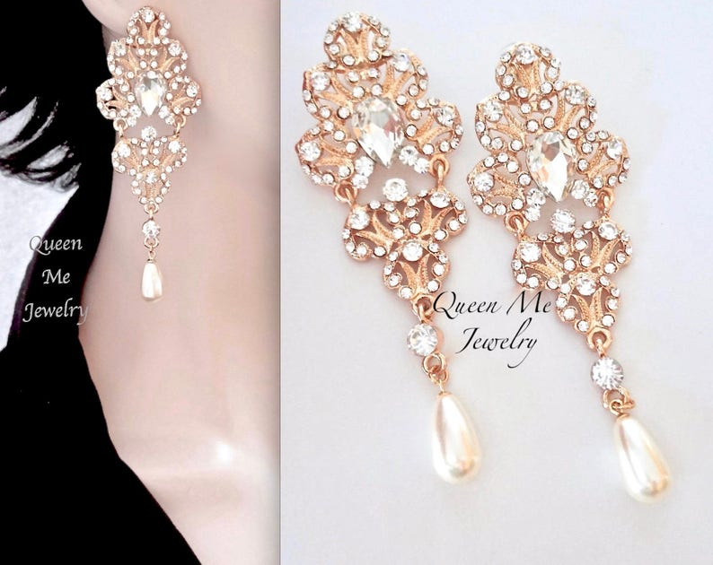 ff283985b Long Gold pearl earrings Yellow gold Crystal chandelier | Etsy