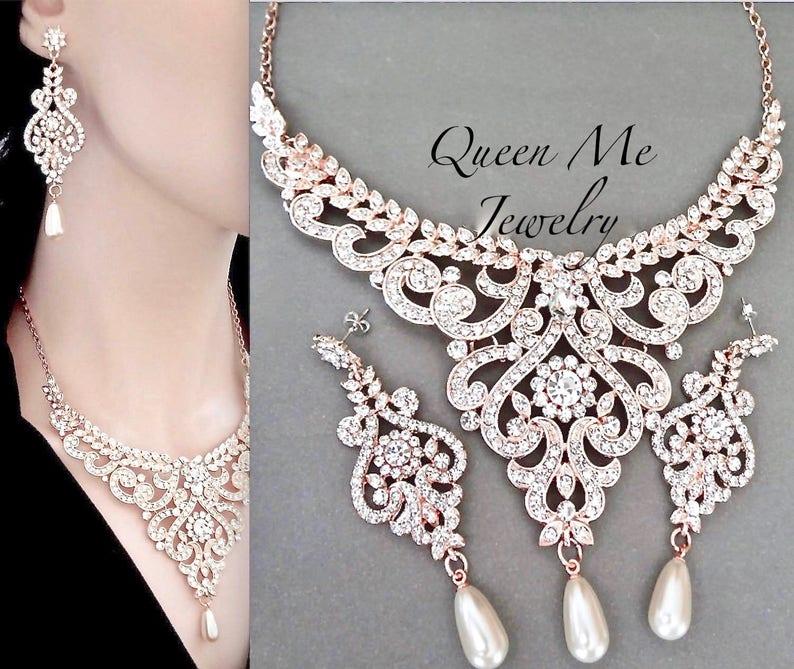 989dfe70c Rose gold pearl crystal wedding jewelry set Swarovski | Etsy