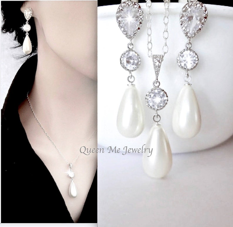 8ff8d7fb48cf2 Bridal jewelry set, Pearl drop necklace long pearl drop earrings Gift for  her, a Bride Mother Wife Gift Wedding Bridal Jewelry