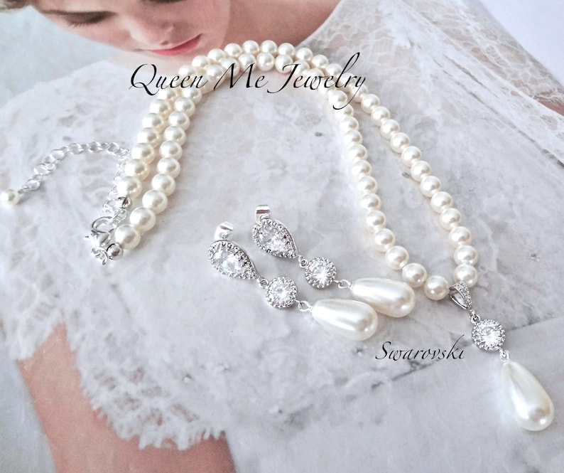 e9a5465fee3b8 Pearl jewelry set Pearl drop necklace and Pearl drop earrings set For a  Bride BEST SELLER Wedding Bridal jewelry set Swarovski pearls