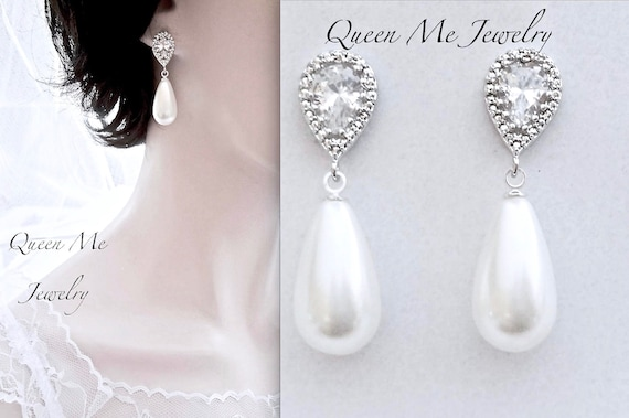 Pearl Drop Earrings For A Bride Sterling Posts Pearl Earrings Etsy