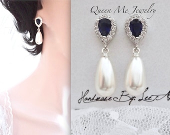 Blue Sapphire and pearl earrings, Blue sapphire Cubic Zirconia earrings, Something Blue, Brides pearl earrings, Swarovski pearl earrings,