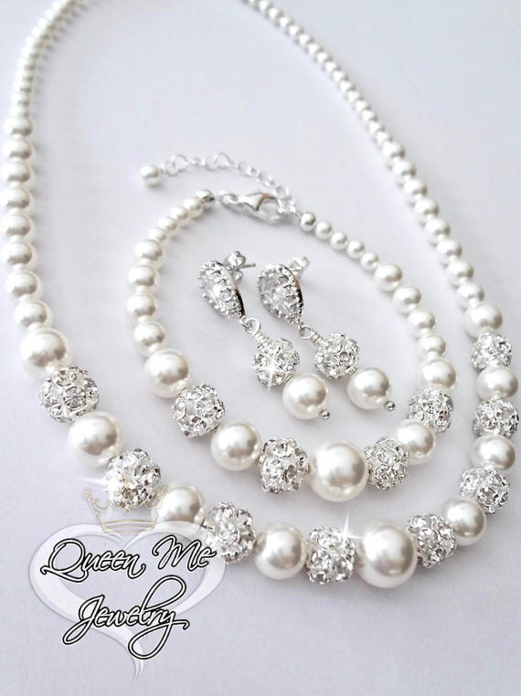 10482d936f307 Pearl jewelry set Gift For a bride 3 piece Swarovski Pearls Necklace  bracelet and earrings Bridal Wedding jewelry set Bridesmaids TOP SELLER